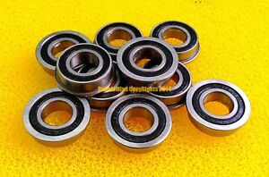 F604-2RS 4x12x4 Black Rubber Sealed Flanged Ball Bearings 10pcs