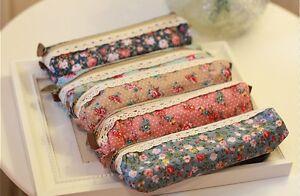 Vintage-Retro-Floral-Pen-Lace-pencil-case-zipped-holder-stationery-school-Pouch