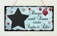 Personalised Countdown to Christmas Sleeps Santa Visit Chalk board Plaque Gift