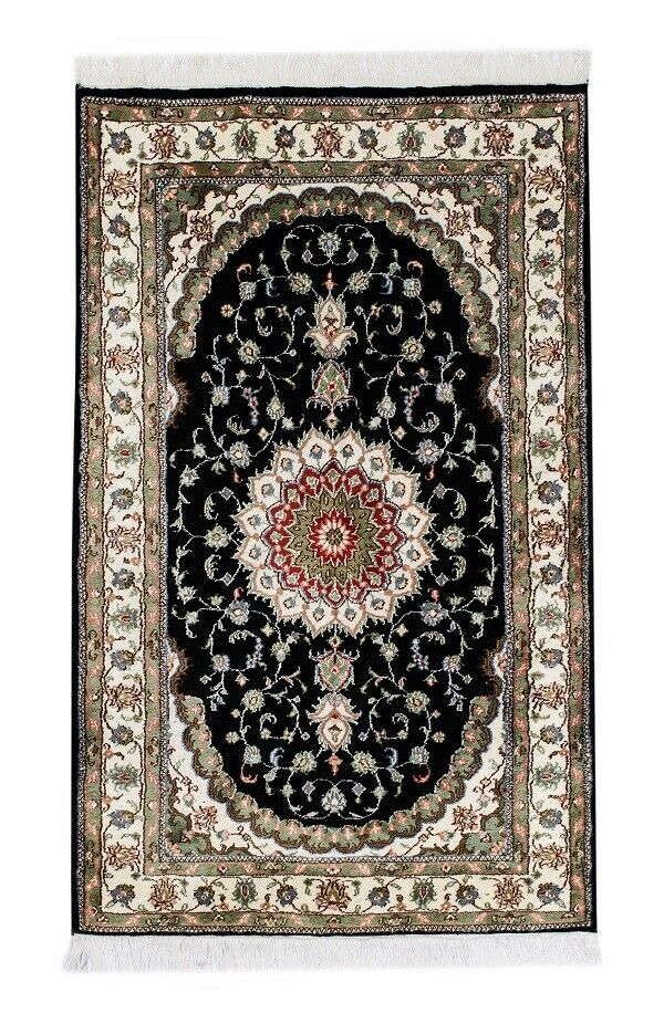 Seda Floral turco tibetano 3 X 5 Alfombra Negra Oferta Especial