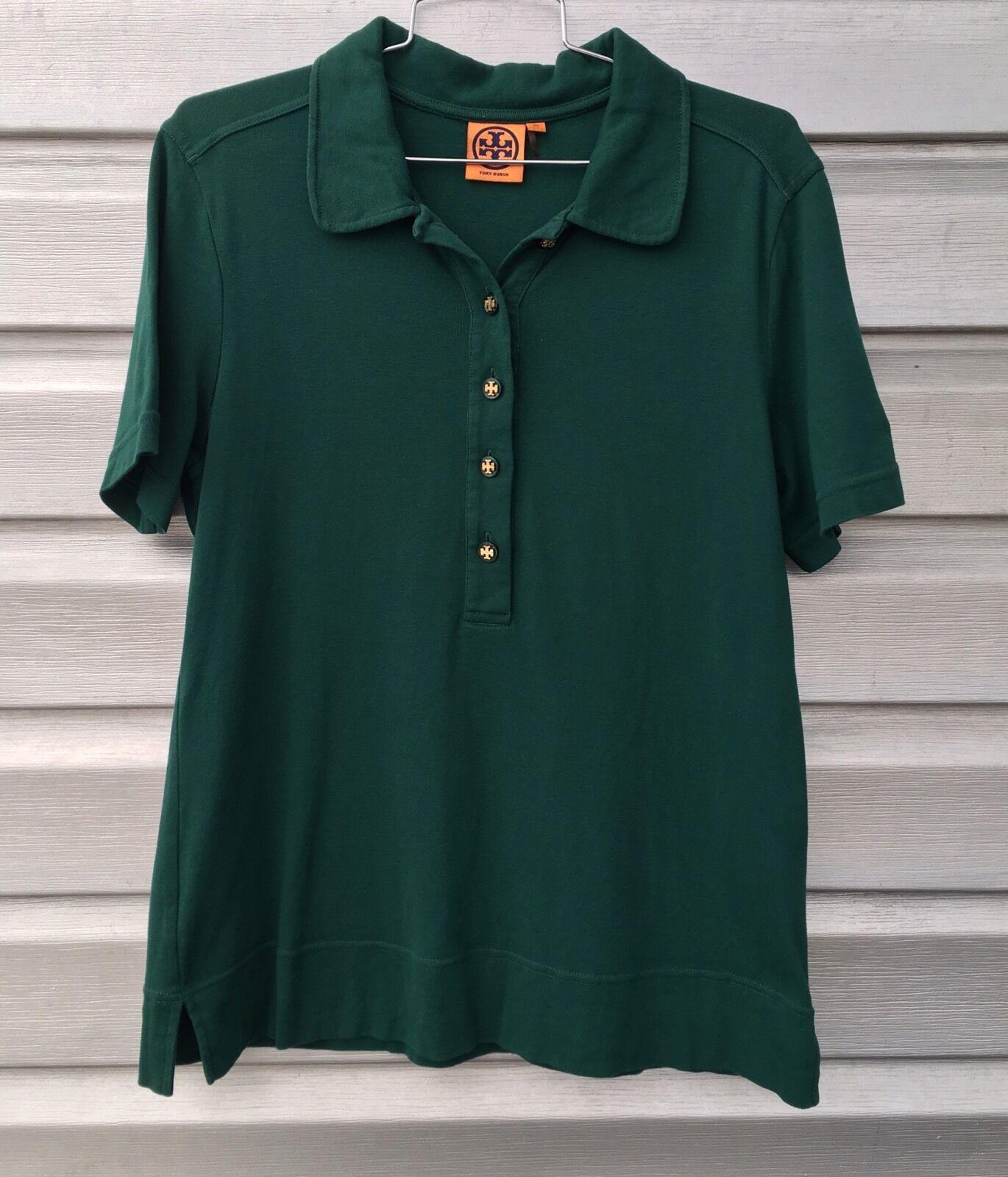 TORY BURCH Emerald Grün Short Sleeve Polo Shirt Top