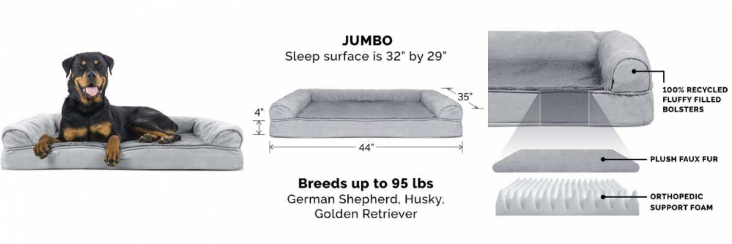 Furhaven Pet Dog Bed   Orthopedic Plush Faux Fur & Suede Jumbo, G
