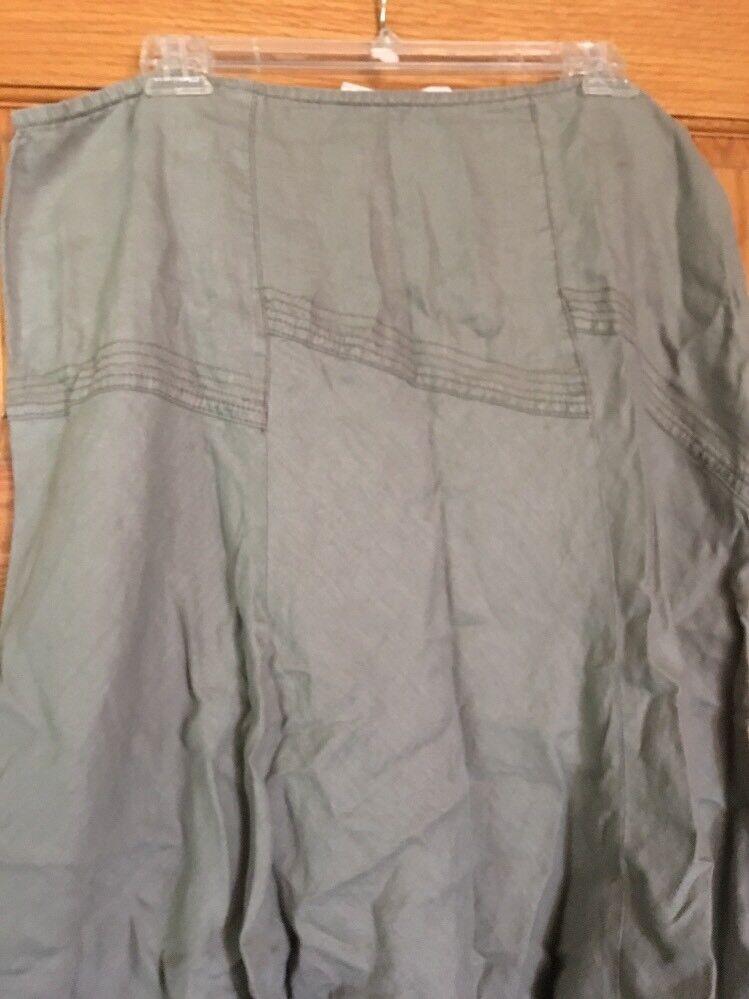 DKNY Women's Green Linen A Line Midi Skirt Size 12