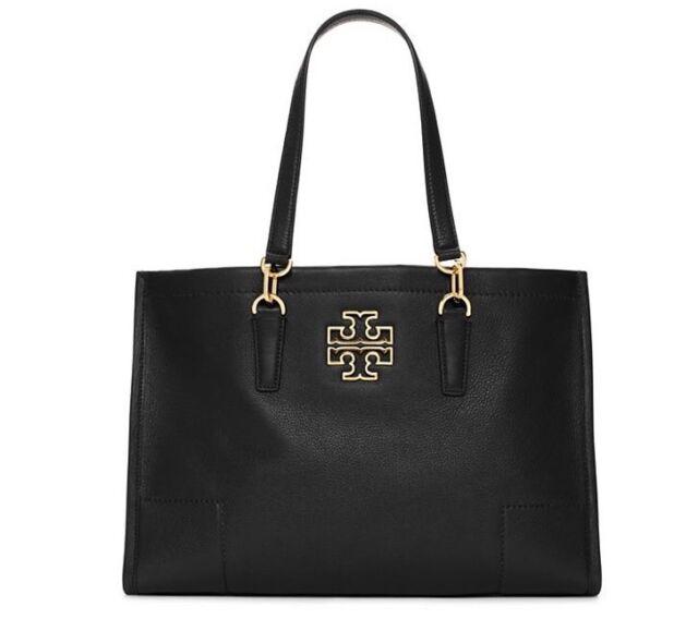 b24b21881074 Tory Burch Britten Tote Leather Shoulder Bag Satchel Black Gold HW Auth for  sale online