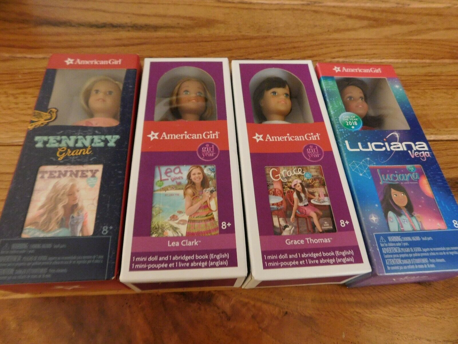 AMERICAN GIRL Masse OF 4 MINI DOLLS + BOOK  LUCIANA TENNEY GRACE LEA NIB FREE SHIP