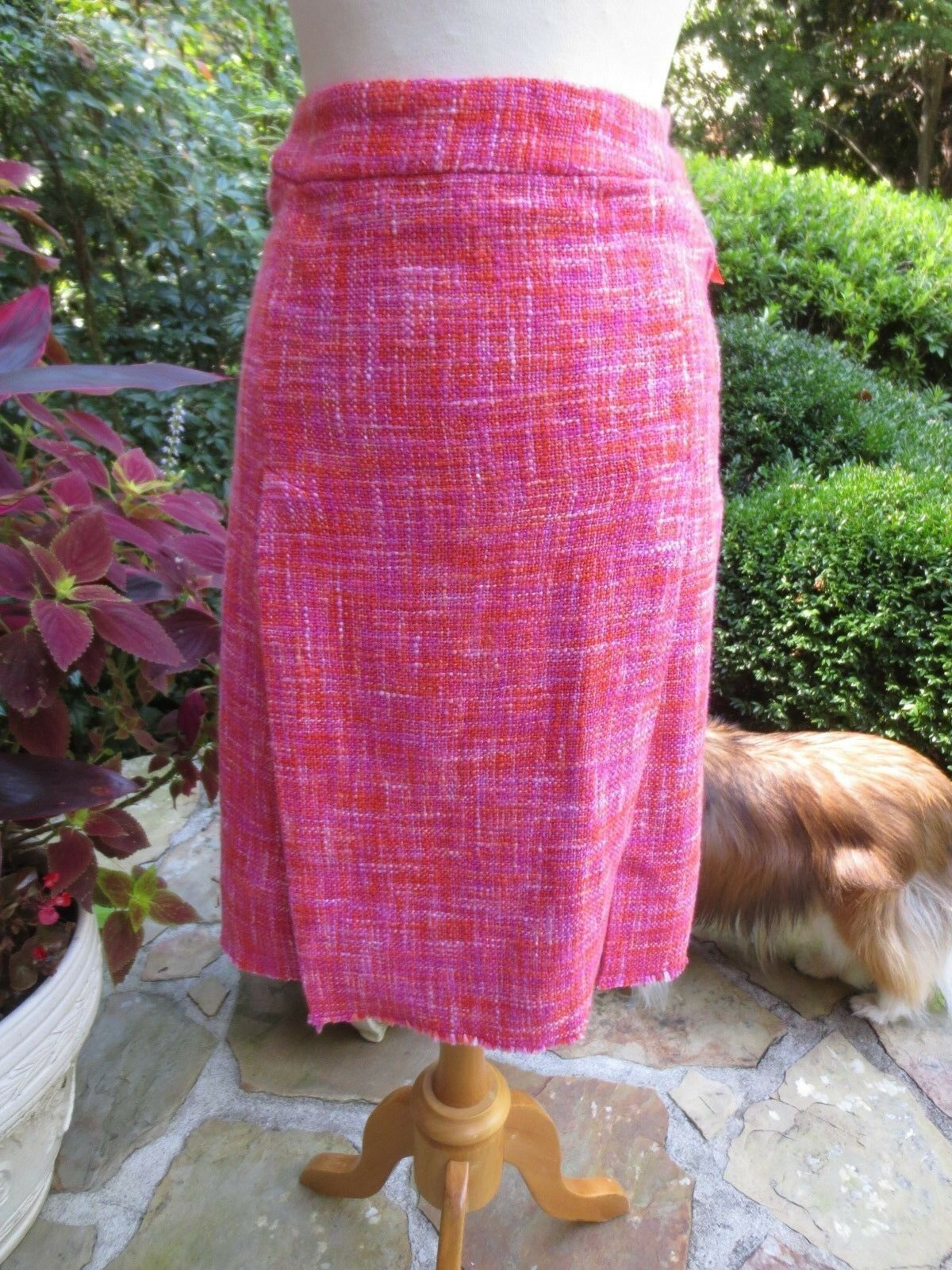PAUL SMITH bluee Label Pink Cotton Tweed Carwash Skirt Sz 38, TRIPLE MINT COND