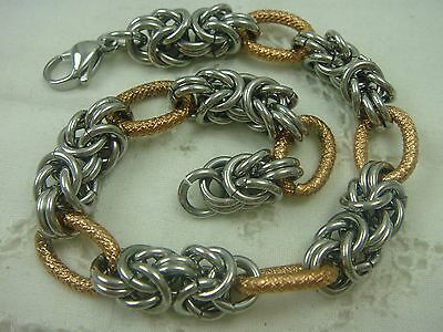 """z-4 Colours Are Striking Modernistic Gm Stainless Steel 2 Tone Chain Link 8 3/4"""" Unisex Bracelet"""