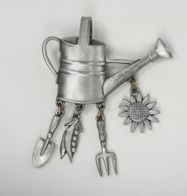 JJ Vintage Pewter Tone WATERING CAN w/ DANGLING CHARMS PIN / BROOCH Shovel