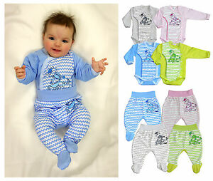 2-tlg-Baby-Set-Wickelbody-mit-Hose-Drachen-Strampler-fuer-Junge-Maedchen-Gr-56-74