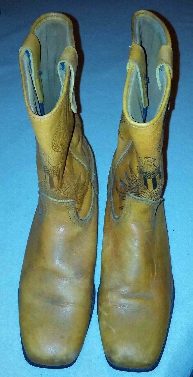 Acme Dingo Women's Cowboy Boho Boots Caramel Brown Cloth Pulls Vintage US Made 7