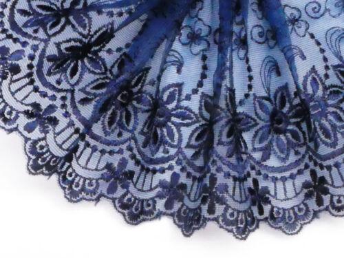 "5 metros Hermoso Azul Marino tul bordado de encaje de corte 5/""//13cm Top Seller"
