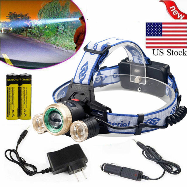 35000LM ZOOM Headlamp 3x T6 LED Headlight Head Light 18650 Flashlight Torch