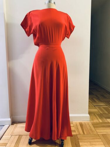 Linda Allard Ellen Tracy Red Silk Wrap Dress Vinta