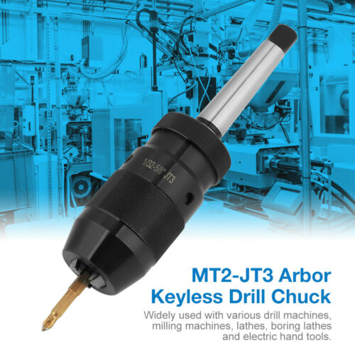 Self Tighten Keyless Lathe Drill Chuck MT2-JT3 Taper Arbor Live Center 1-16mm