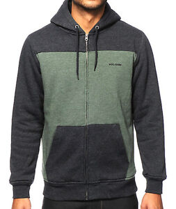 VOLCOM STONE LOGAN Lined Fleece Hoodie Zip-Up Sweatshirt Jacket ... 2fed3869c