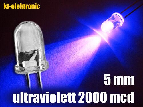 50 pièces DEL 5 mm UV Ultraviolet ultrahell