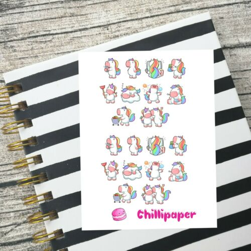 rainbow unicorn Cute kawaii planner stickers Kawaii unicorns planner stickers