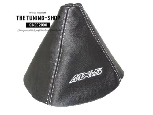 "For Mazda MX-5 MK3 2005-12 Gear Stick Gaiter Leather /""MX-5/"" White Embroidery"