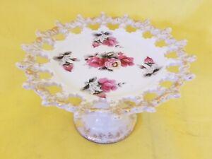 """Vintage Reticulated Pedestal Fruit Basket Porcelain Stand 3""""  Tall"""