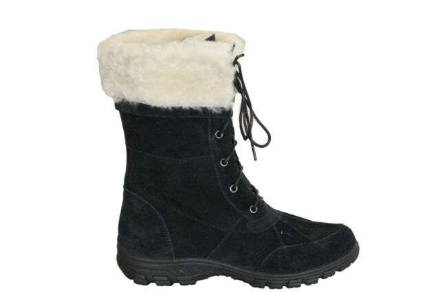Australian Sheepskin Lady Fashion UGG Boots Front with Lace Black Colour