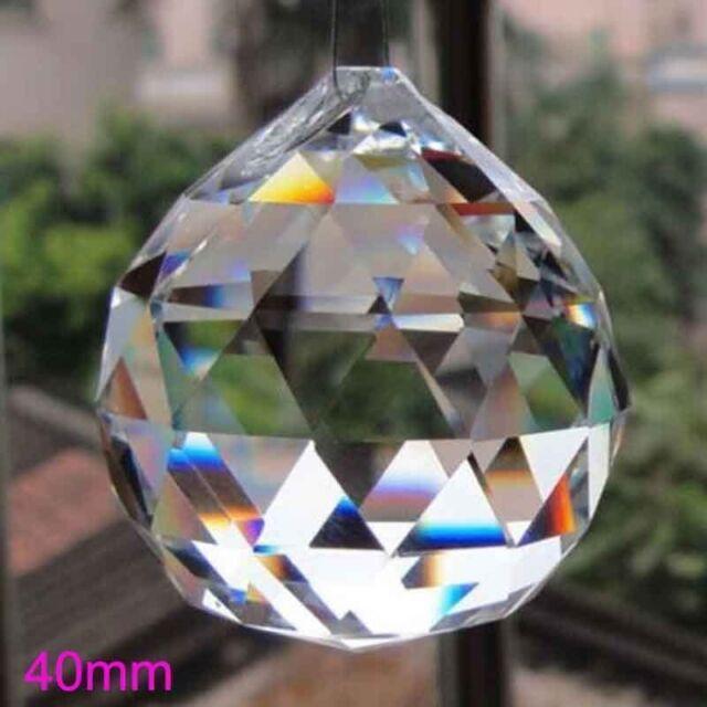 10pcs 40mm Clear Lighting Ball Prisms Hanging Pendant Wedding Curtain Decor