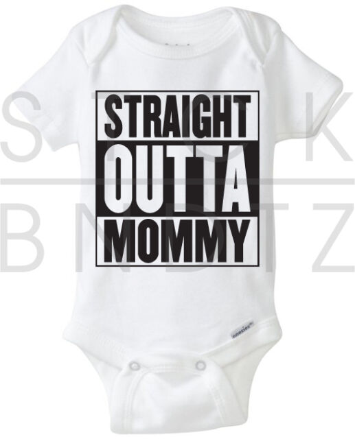 STRAIGHT OUTTA MOMMY COMPTON HIPHOP BABY T-SHIRT FUNNY CUTE SHOWER GERBER ONESIE