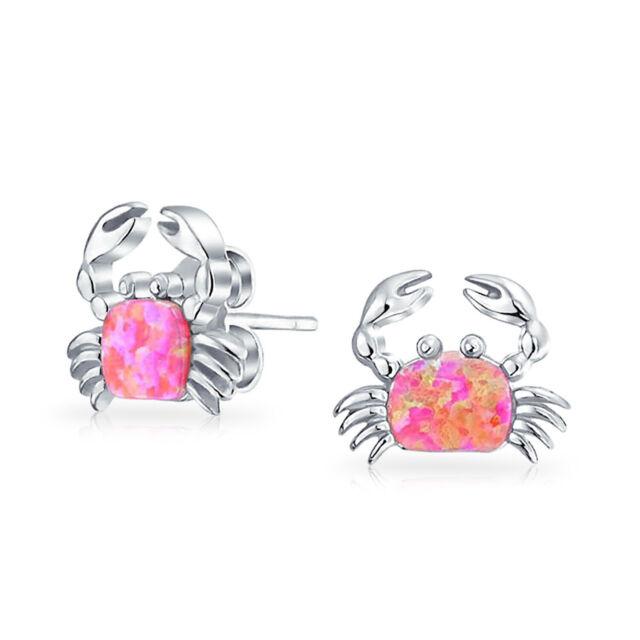 Nautical Opal Beach Crab Stud Earrings 925 Sterling Silver More Colors