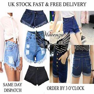 Vincenza-Mujer-Vintage-Cintura-Alta-Denim-Beachshorts-Jeans-Shorts-Muy-Cortos-GB