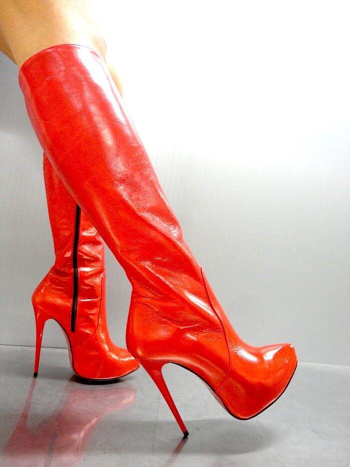Mori  Platform Neu Heels Knee High Stiefel Stiefel Stiefel Leather Rot