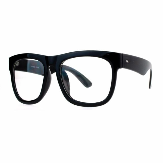 680a4ac01fa Black Nerdy Thick Heavy Plastic Horn Rim Eye Glasses for sale online ...