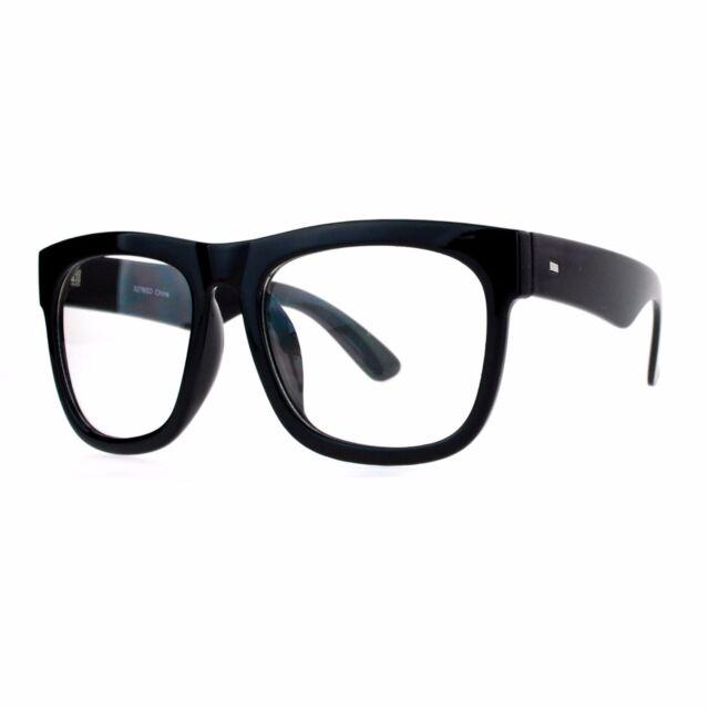 680a4ac01fa Black Nerdy Thick Heavy Plastic Horn Rim Eye Glasses for sale online ...