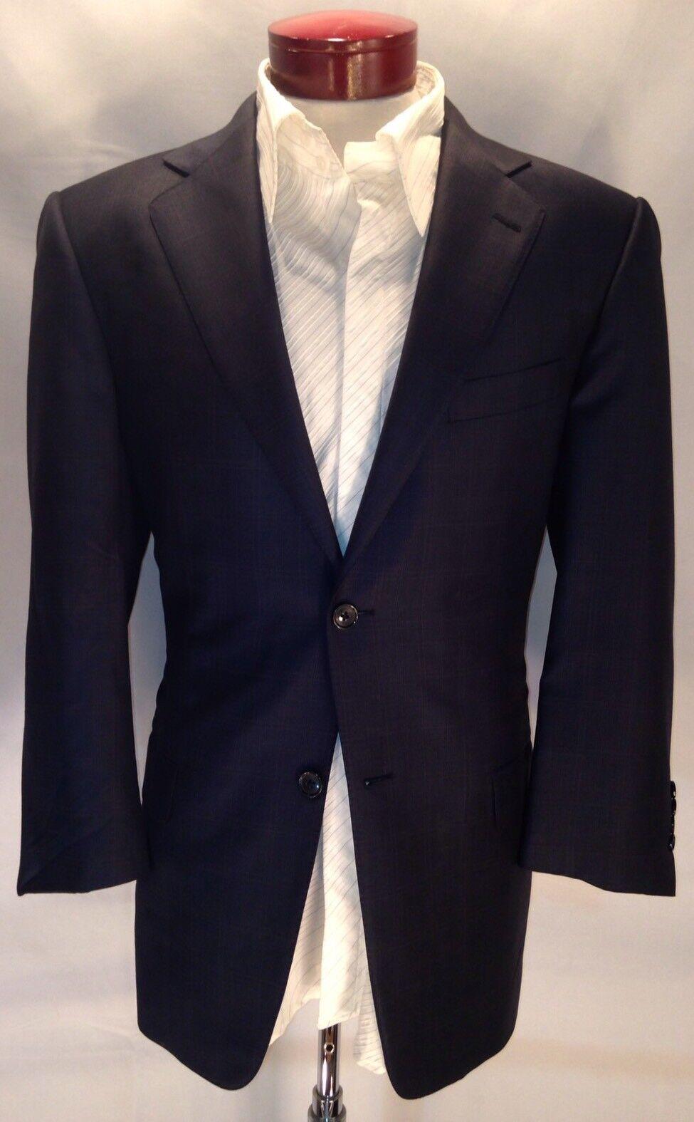 E203 Ermenegildo Zegna Trofeo Navy Windowpane 100% Wool Suit 40R Made In
