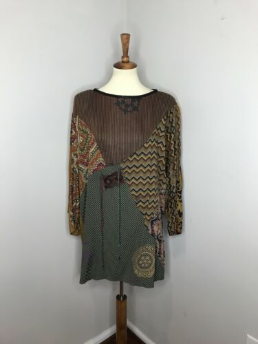 Staley Gretzinger Art to Wear Brown Patchwork Top