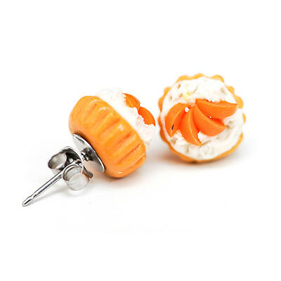Cupcakes with peach fruit & cream stud earrings - Kawaii Kitsch - Rockabilly