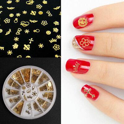 360Pcs Nail Art Gold Noble Mixed Design 3D Metal Glitters Slice Decoration wheel