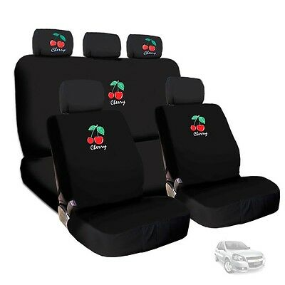 Deluxe Cherry Front and Rear Seat Covers & Headrest Covers Set For Chevrolet