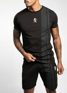 Nuevo-rey-Gimnasio-Para-Hombre-Manga-Corta-Cuello-Redondo-Impreso-Raya-Camiseta-Negro