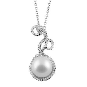 Sterling-Silver-pendant-17-039-039-chain-with-White-FW-pearl-and-CZ-039-s-NSR-169