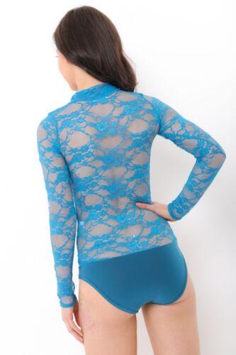 Womens Floral Lace Polo Neck Bodysuit Ladies Long Sleeve Dancewear Leotard