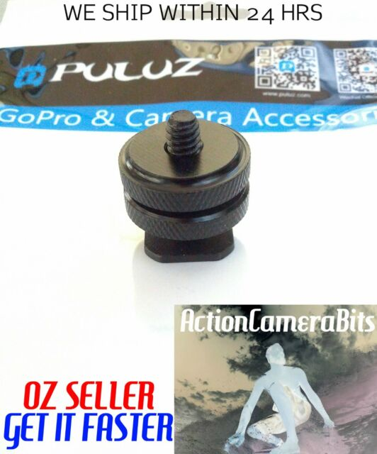 """1/4"""" INCH dual thumb Screw Flash Cold Hot Shoe camera Adapter mount GoPro DSLR"""