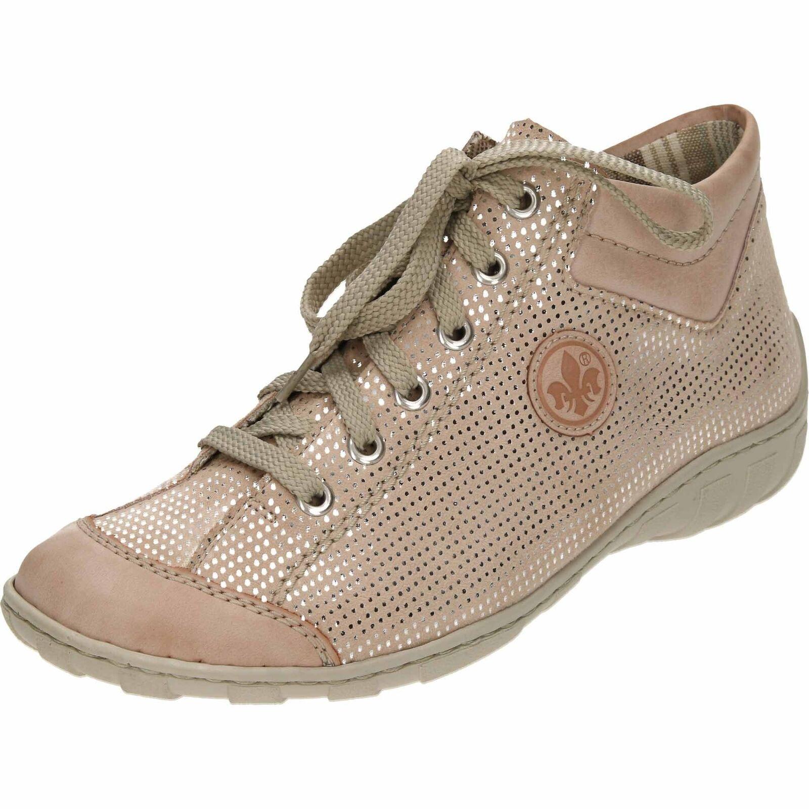Rieker con cordones Altas-Top de Superdry M3738-31 Zapatos Planos Zapatillas Cremallera Rosa Pálido