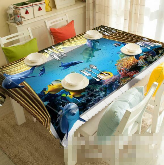 3D Sea Dolphins 1 Tablecloth Table Cover Cloth Birthday Party Event AJ WALLPAPER