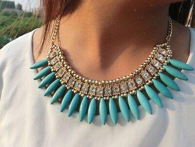 New Fashion Jewelry Mint Color Resin Tassels Full Rhinestone Golden Bib Necklace
