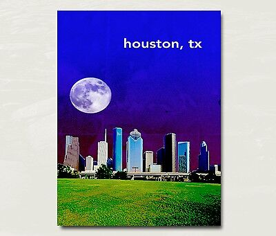 "Houston Texas City Skyline Art Travel Poster Original Design 12x16/"" B21"
