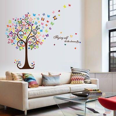 Wandtattoo Wandsticker Baum Schmetterling Romantik Bunt Dekor Ebay
