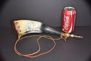 Antique Black Powder Horn with Brass Plunger Fill Valve