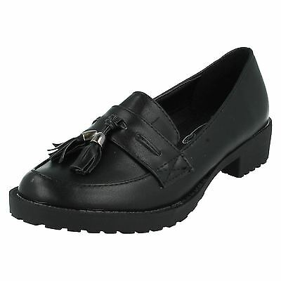 Spot On H3036 Black Synthetic Slip On 1 Block Heeled Tassel Loafer School Shoes