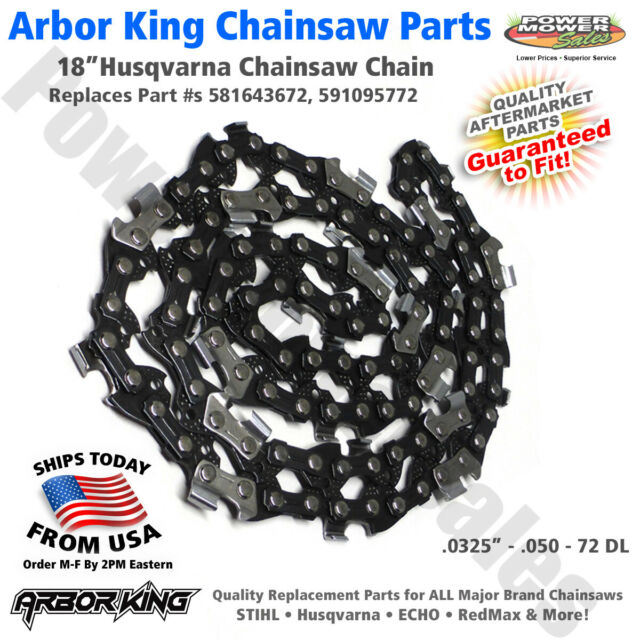 Chain 325 PITCH .050 GAUGE 72 DL H30 072G X  5018406-72 Husqvarna OEM 18/""