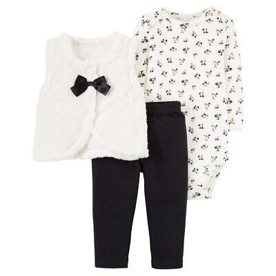 Carter/'s Baby Girls/' 3-Piece Fleece Fluffy Shrug Floral Outfit Set NB 3M