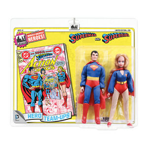 Pack de 2 figurines style rétro de 8 cm Dc Comics: Superman et Supergirl (jaune)